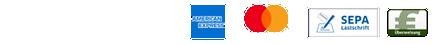 Zahlungsmethoden: PayPal, Visa, American Express, Mastercard, SEPA Lastschrift, Überweisung
